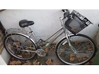 Ladies silver town bike