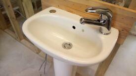 Ideal Standard 'Studio' Cloakroom Basin, Tap and Pedestal