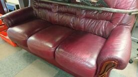 Red Leather 3 seat sofa settee with 2 reclining armchairs suite