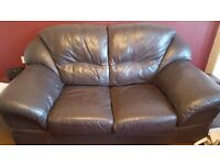 2 seater brown leather couch
