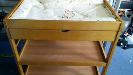 pine wooden baby changing unit with winnie the poo