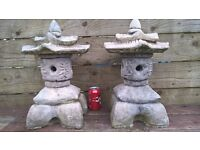 Pair of Pagoda Type Garden Ornaments - Chinese - Thai -Japanese Style - Solid Concrete -Pair for £35