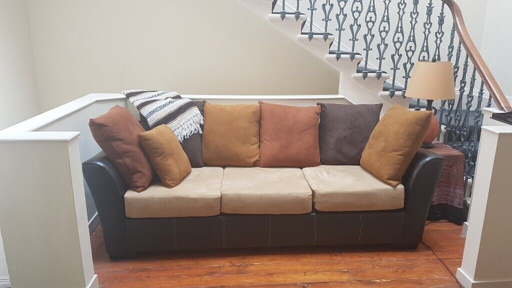 Faux Suede Leather Sofa Set Large 3 Seater And Corner Unit Brown Cream Colour In Edinburgh City Centre Gumtree