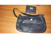 Ladies black leather handbag and purse