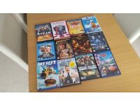12 Family DVDs and Blu-rays, including Disney, Ice Age, Pirates of the Caribbean, Indiana Jones etc.