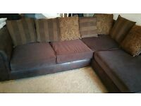 COMFY DARK BROWN CHENILLE FABRIC CORNER SOFA.