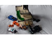 Wooden toy garage with cars - excellent condition