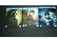 The hobbit 3d 1 2, and 3 blu ray