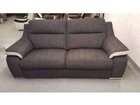 NEW ScS SiSi ITALIA MATTEO AMALIA CHARCOAL CONTRAST SILVER FABRIC 3 Seater Sofa CAN DELIVER