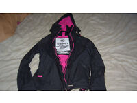 SuperDry Jacket Size Small Pink and Black Girls Coat BNWOT