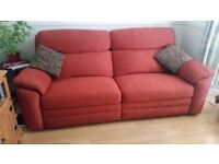 Large manual recliner deep red/ maroon colour 3/4 seat sofa