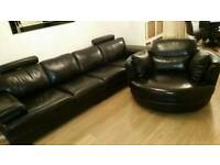 Black Leather 4 seater sofa ( leather couch ) and swivel cuddle chair