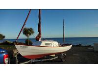 Drascombe Longboat cruiser, Hallmark roller trailer and 5 hp Mariner 2 stroke outboard