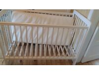 White John Lewis Cot plus mattress