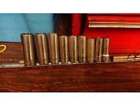 snap on long 3/8 drive socket kit on rail
