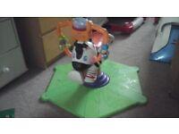 Zebra sit on toy bounces