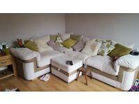 Cream & Lime Green Corner Sofa with Footstool
