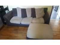 Brown and cream 3 seater settee with puff