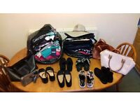 LADIES CLOTHES SIZE 8-10 2 LARGE BAGS OF 1 LARGE BAG OF 6 PAIRS SHOES SIZE 4 HANDBAGS 4 OF