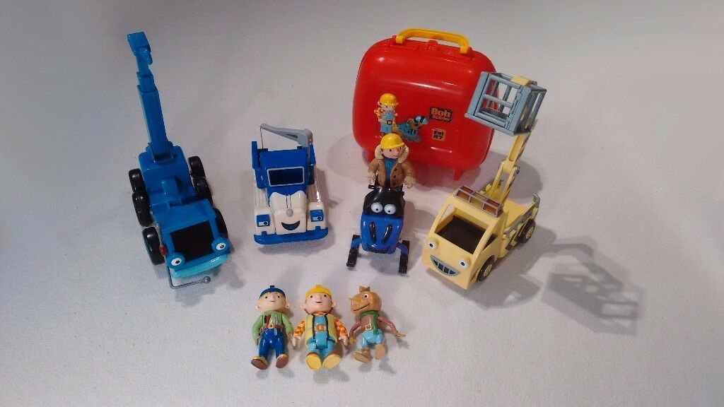 Various Bob the Builder collection- vehicles, characters and a lunchbox.