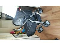 Charcoal 3D Silvercross Pram with footmuff and extras