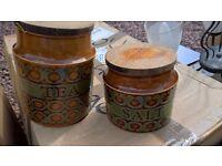 hornsea bronte tea and salt storage jars vintage