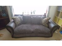 Dfs brown fabric scatter back couch