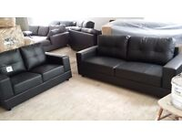NEW Black Leather 2 + 3 Seater Sofa Suite FREE LOCAL DELIVERY