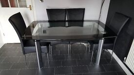 Rectangle Boat Style Glass Kitchen Table and 4 Chairs