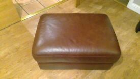 Leather Pouffe, Footstool - Brown