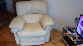 Baige Leather Reclining Chair