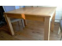 wooden dining table and two carver chairs,