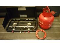 Camping Stove with Gas and regulator and pipe - Complete Setup 2 Ring / Burner Fold Away