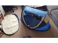 pop up travel cot, tent, sun shade