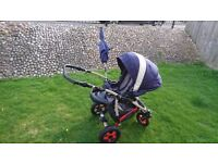 Camarelo 3-in-1 Blue Buggy Pushchair Car Seat