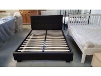 NEW JOHN LEWIS BLACK LEATHER KING SIZE BED & DELUXE SEMI-ORTHOPAEDIC MATTRESS **CAN DELIVER**