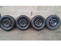 VW Polo steel wheels 14'' + 4 x tyres 165 70 14