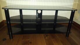 TV entertainment unit black glass