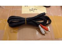 1.5 meter long 3.5 mm mini Stereo Jack to 2 x RCA music cable