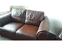 Chocolate brown corner sofa and 2 seater sofa and storage puffy