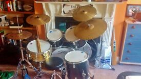 Full custom drum kit. Stagg kit, with brass Ludwig snare, Zildjian cymbals, double braced stands