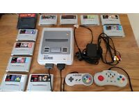 Nintendo snes console + 10 games and game genie, Official controller and leads, PAL Fully working