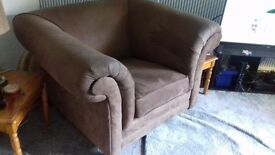 Large Brown Suede Armchair