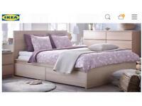 IKEA Malm 180x200 w/ 4 storage boxes and mattress
