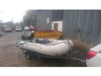 Rib with Mercury 20hp outboard Engine. Hard floor ideal sports rib, tender or fishing boat