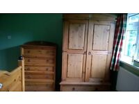 Wardrobe traditional wooden with drawer and hanging rail matching items available