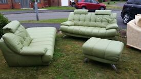 Stylish Lime green leather sofa with chrome legs