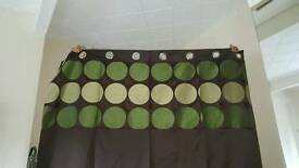 Almost new v modern stylish fully lined eyelets chocolate brown curtains with green circles on top