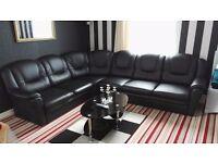 Cinema Corner Suite - Black Leather