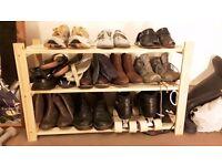 Three shelf wooden shoe rack